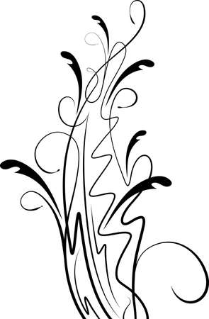 Floral branch with shadow.  Vector