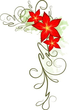Beautiful floral branch.  Vector