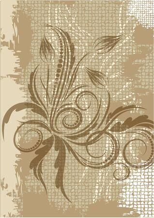 ringlet: Decorative branch on aged background.  Illustration