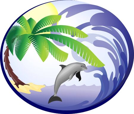 Sea background with palm and dolphin
