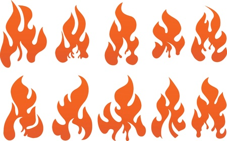 Collection of vector fires. Stock Vector - 10707098