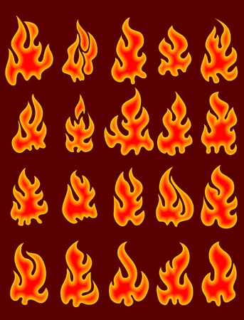 Collection of vector fires.  Stock Vector - 10709063
