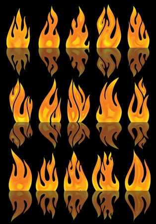 vector fires with mirror reflection  Stock Vector - 10707464
