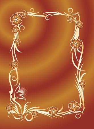 interesting floral frame  Vector