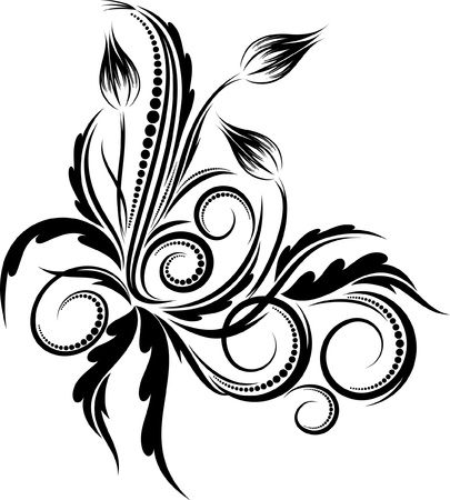 tatouage fleur: Coin floral. Vector illustration.