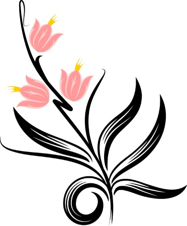 embroidery flower: Floral corner. Vector illustration.