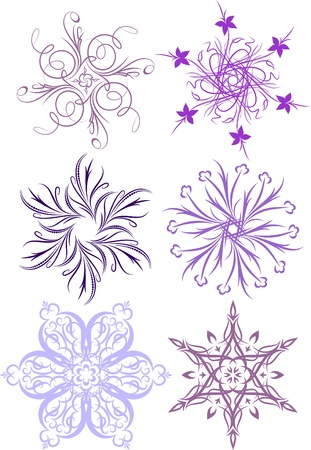 icicle: Collection of floral snowflakes. A lot of similar images in my gallery.  Illustration