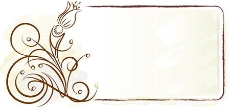 scroll frame: Elegant frame with flower. Vector