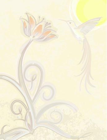 cartouche: Abstract design with bird.