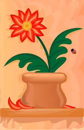 abstract flower in painting in oil style (vector)  Vector