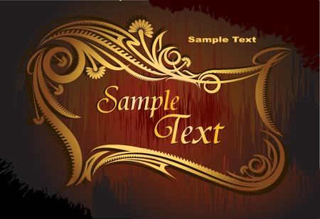 etiqueta: Vintage vector background in gold and black gamma.
