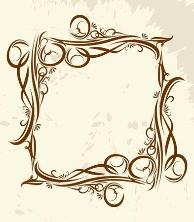 wine  shabby: Decorative vintage frame.  Illustration