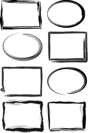 óvalo: Grunge cuadros con trazos de pincel. Vectores