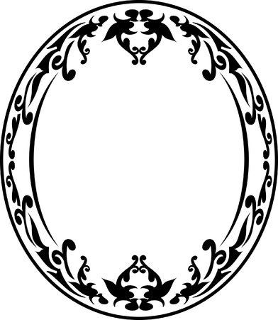 floral border frame: Elegant oval frame