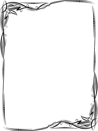 floral border frame: Elegant decorative frame. Illustration