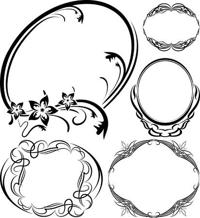 5 エレガントな楕円形フレームのセット。ベクトル