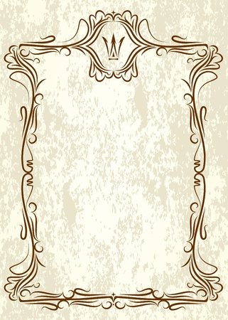 wine label design: Vintage frame with crown