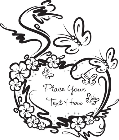 Decorative frame with butterflies.  Vector