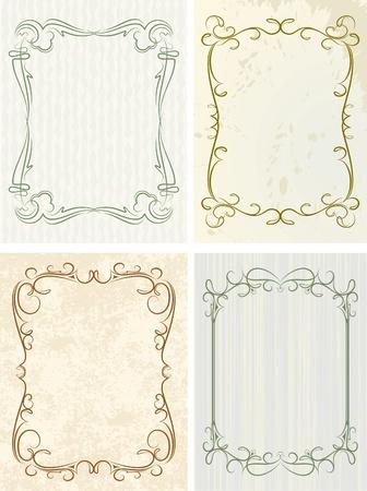 wine  shabby: Set of 4 decorative frames  Illustration