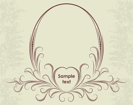 wine  shabby: Elegant oval frame.