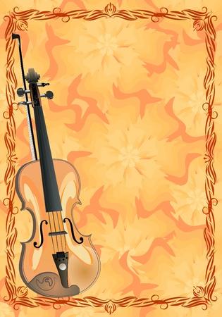 viola on floral background  Vector
