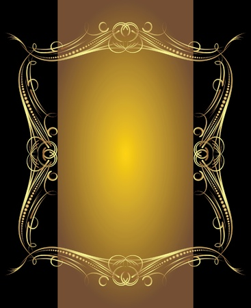 etiqueta: Vintage vector background in gold and black gamma