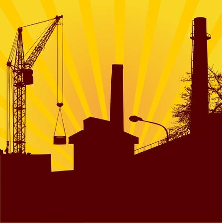 rising sun: Construcci�n urbana con la gr�a de elevaci�n en el fondo del sol naciente