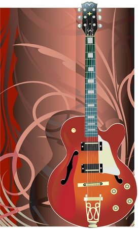 Electric guitar on floral background  Vector