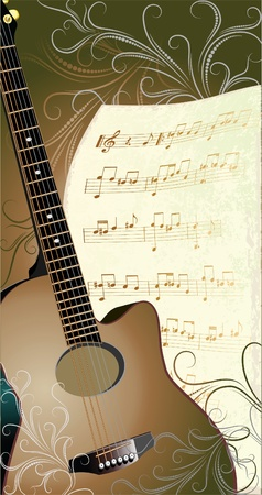 folk music: abstract musical background with guitar and notepaper