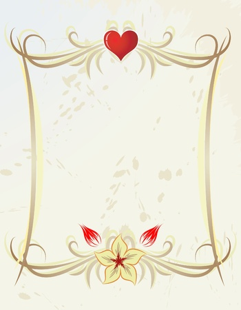 Frame with heart and flowers Stock Vector - 10707470