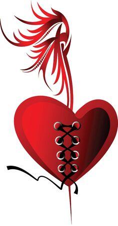 Design for Valentines card or tattoo.  Illustration