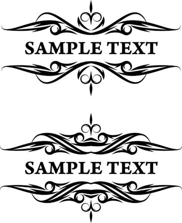 pair of rich-decorated texts frame  Vector