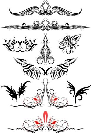 Rich collection of decor elements for design or tattoo  Illusztráció