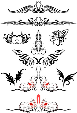 Rich collection of decor elements for design or tattoo  Stock Illustratie