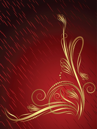 revival: Abstract red background with flower.