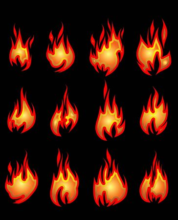 Collection of vector fires. Stock Vector - 10707076
