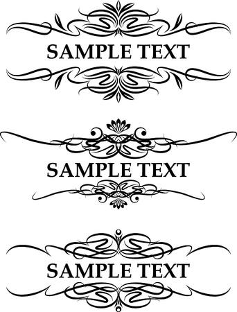 3 つのエレガントなテキスト フレームのセット  イラスト・ベクター素材