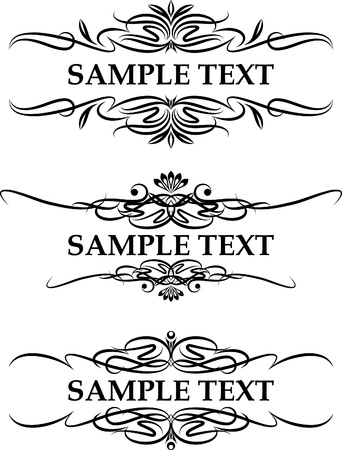 victorian style: set of three elegant text frame