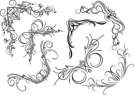 gothic revival: Elements for design or tattoo.  Illustration