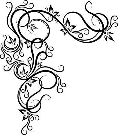 tatouage fleur: beau coin floral  Illustration