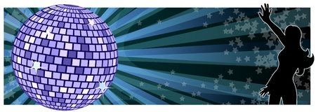 Dancing girl with disco background.
