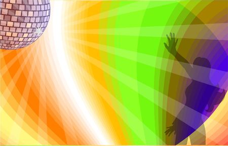 Dancing girl with disco background.  Vector