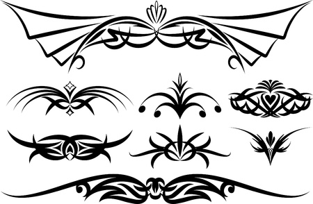 gothic revival style: Rich collection of decor elements for design or tattoo  Illustration