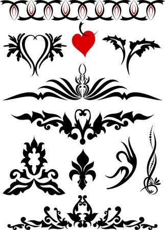 national emblem: Decorative elements for design or tattoo