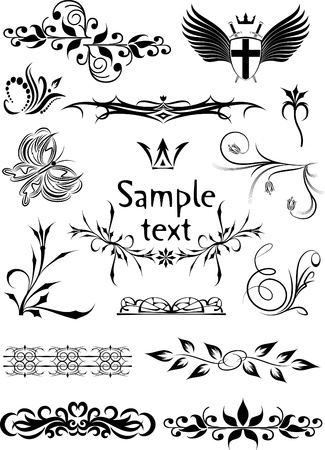 Rich collection of decor elements for design or tattoo  Illustration