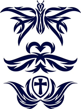 cross and wings: decorative elements for tattoo
