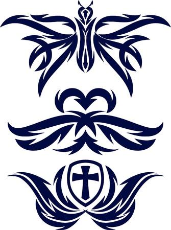 cross and wings: elementos decorativos para el tatuaje