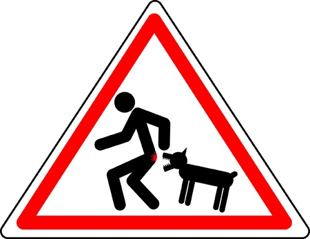 dangerous man: Funny warning character Caution! Wicked dog.  Illustration