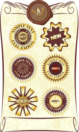 Seven design elements on old roll.  Vector