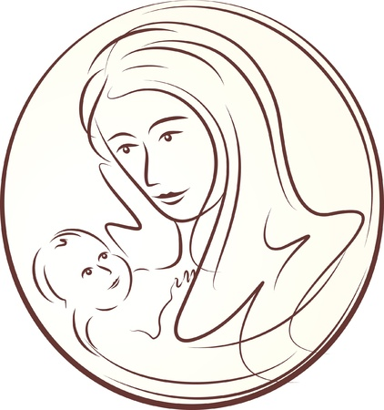 motherhood: happy mother and child  Illustration